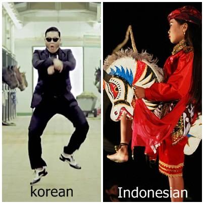 Pick One ! sebenarnya dari jaman nenek moyang dahulu, Indonesia kita sebagai negara tercinta ini sudah punya GANGNAM STYLE loh ! liat aja di gambar ! anrata gangnam style dari korea atao Jathilan dari Indonesia :) sekarang tinggal pilih aja ya!