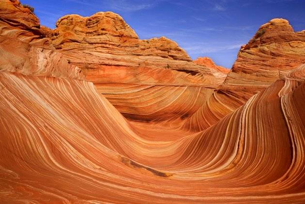 Gelombang (The Wave) di Utah – batu-batu ini terkikis secara alami sehingga terbentuk seperti gelombang. Figur ini terbuat dari batu pasir zaman Jurassic yang diperkirakan sudah berumur 190 juta tahun. (Steffen and Alexandra Sailer/Ardea/Cater)