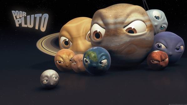 pluto dikeluarkan dari tata surya karena memotong orbit neptunus. sekarang NASA menyatakan pluto adalah planet kerdil seperti planet kerdil lainnya di sabuk kuiper. antara lain: eris, haumea, makemake, sedna, dan quaoar