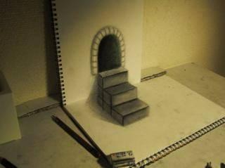 Lukisan 3D hanya menggunakan pensil ini seolah-olah menampilkan bentuk tangga seperti aslinya. Mungkin ini hanya bisa dilihat dari 1 sudut pandang saja, kalo sudut pandangnya beda bentuknya jg beda. Ada yang bisa melukis gambar 3D kayak gini?