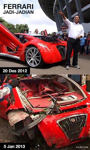 Dahlan Iskan dan Ferrarinya yang bertahan 16 hari saja. Mobil ini hancur berantakan Hanya karena rem blong, alasan yg cukup konyol untuk mobil seharga milyaran rupiah. Halo kupu-kupu malam, mana suaranya?
