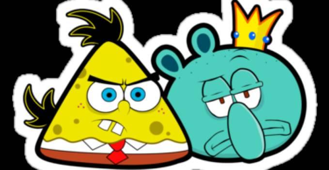waw gambar baru oiya kamu pasti tau kan film kartun spongebob squerpants pasti tau lah sekarang udah di beritakan spongebob dan squidboard jadi berubah spongebob jadi angry bird yg kuning squidboar jadi babi nya hahahahahah.........