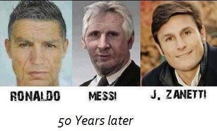 C.Ronaldo, Messi, dan J.Zanneti 50 Tahun kemudian...hehehehe :)