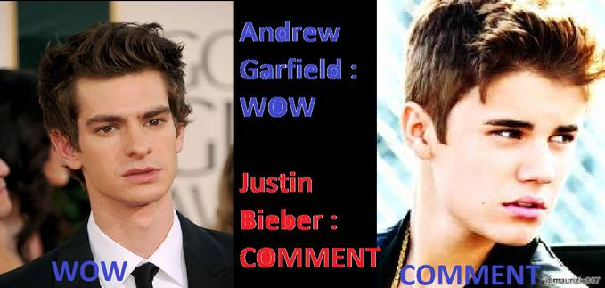 ANDREW GARFIELD : W.O.W JUSTIN BIEBER : COMMENT