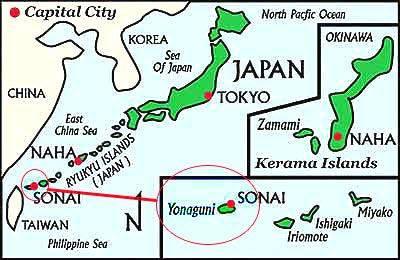 3. Yonaguni, Reruntuhan Peradaban Bawah Laut (Jepang) Di pantai selatan pulau Yonaguni, Jepang, terdapat reruntuhan yang terendam, diperkirakan telah berusia sekitar 8.000 tahun. Reruntuhan dibawah laut ini dikenal juga dengan nama Yonaguni M