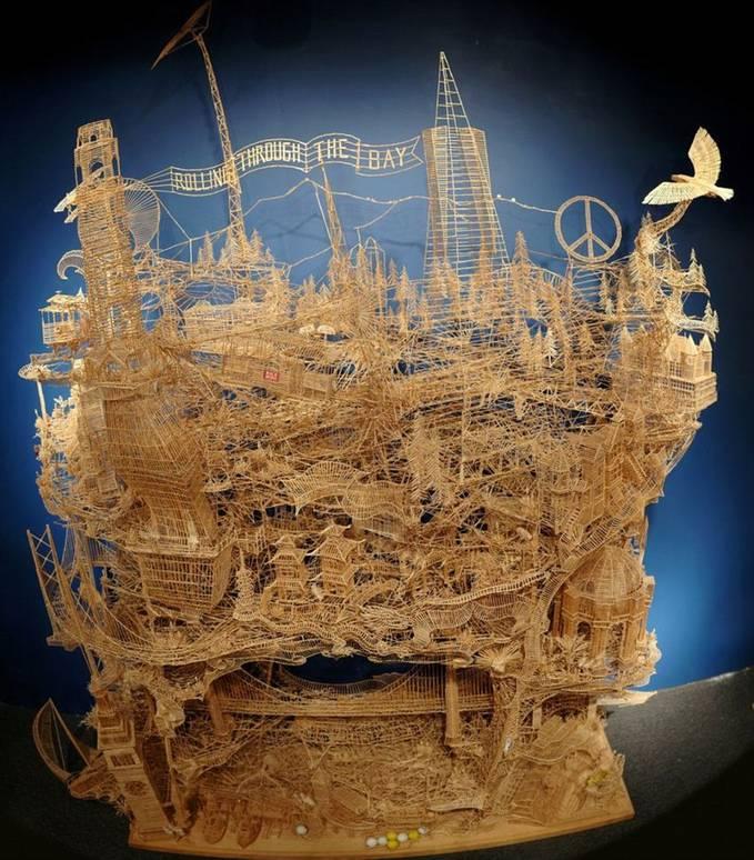 100 ribu tusuk gigi untuk membuat miniatur kota San Fransisco - Karya yang bertajuk 'Rolling Through the Bay'ini membutuhkan waktu 34 tahun untuk menyelesaikan karya tersebut dan hasilnya sangat luar biasa... WOW banget yah.
