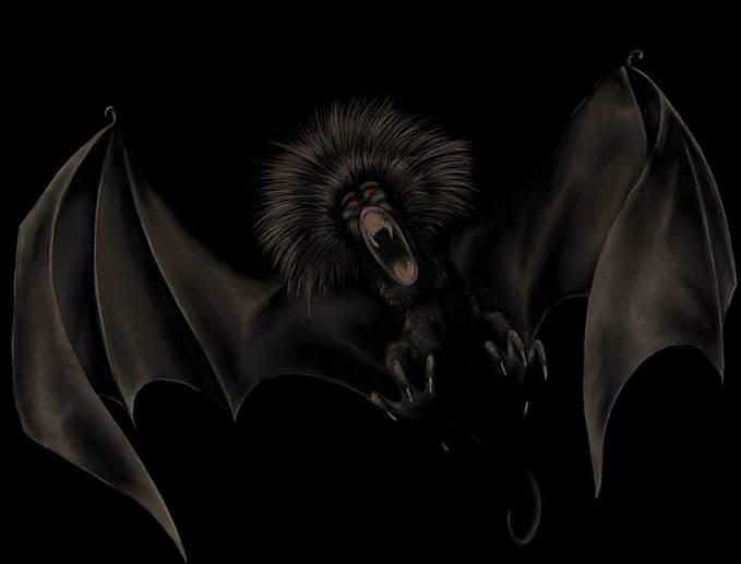 hewan ini berbentuk seperti kelelawar, berkepala seperti monyet, bermata besar serta hitam, dan tubuhnya berbulu abu-abu gelap. Tubuhnya dapat sebesar anak berumur satu tahun dengan bentangan sayap dapat mencapai 10 kaki (3 meter).wow-nya dong
