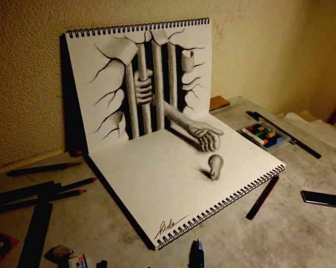 Ini Gambar 3D Yang Di Buat Hanya Mengunakan Pensil saja, sayang Nya Kelemahan Gambar 3D hanya Bisa di Lihat Di Satu Sisi saja Yang Ingin Bisa Mengambar Seperti Ini Ketik WOW (^_^)