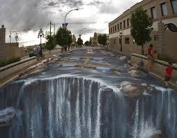 Wahhh..,, Banjir... hehehehehe bukan ini adalah seni gambar 3D pada jalan WOW kayak asli ya.... WOW