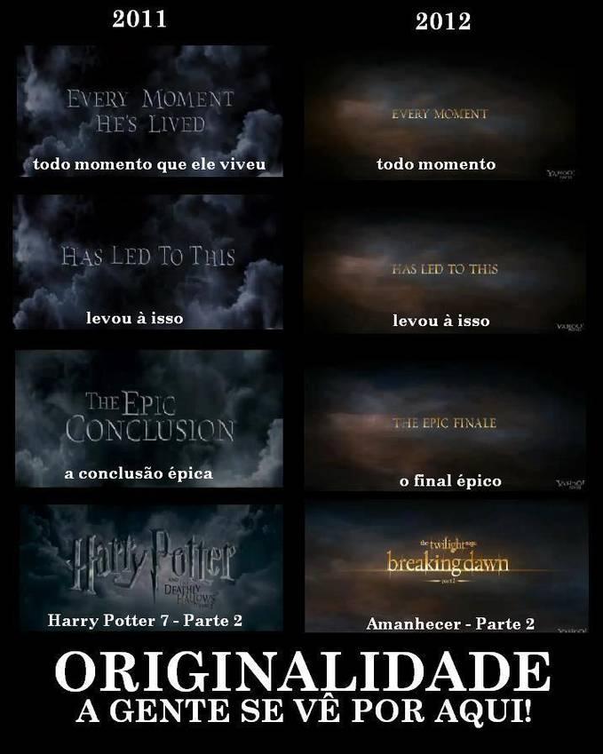Nemu foto ini dari fanbase Harry Potter dari luar negeri Katanya Breaking Dawn itu niruin Harry Potter, liat aja kalimatnya Huu, ga kreatif deh :p #PotterheadTersinggung Give it WOW pleaseeee :)