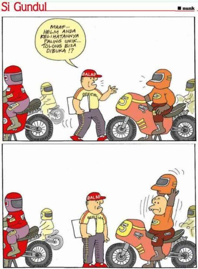 nampaknya si juri memperhatikan helm setiap pembalap yang ikut