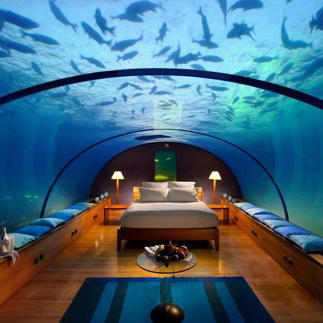 Underwater Bedroom, Conrad Maldives Rangali Island Hotel!