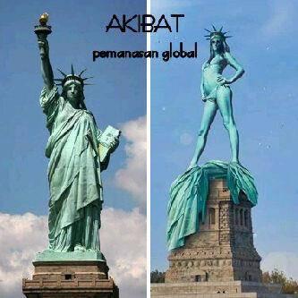 akibat pemanasan global akhirnya patung liberti buka baju,,hehehee..