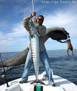 merasa bangga dapet ikan gede... gak tau tmennya dilalap dgn moyangnya ikan..