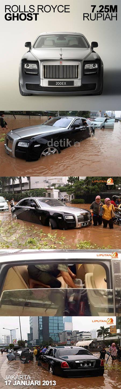 Bahkan Rolls Royce pun harus menyerah dengan keganasan banjir di Jakarta kali ini.