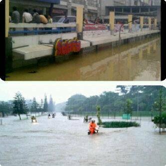 Giant Mega Bekasi n Kemang Pratama masih banjir.. O:) Pray for all yang kebanjiran O:) WOWnya ^_^