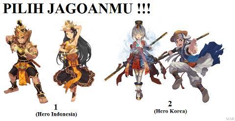 pilih jagoan kalian 1. hero indo atau 2.heroo korea