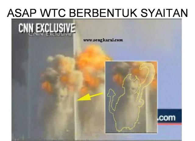 subahanallah asap WTC di atas berbentuk syaitan
