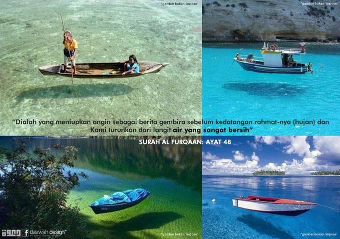 SubhanaAllah! Indah sekali ciptaan-NYA.... ? saking jernih air nya, perahu tampak seperti melayang... klik WOW jika kamu suka gambar ini...