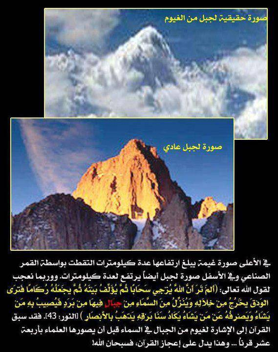 Al-Quran Gunung di langit Gambar yang menjelaskan bahwa ada awan berbentuk gunung di atas langit (dipotret melalui satelit), yang berbentuk hampir sama dengan gunung sesungguhnya di atas bumi.