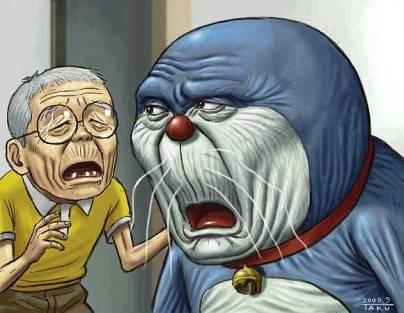 Nonton film kartun itu emang enak ya... tapi kalau di hitung umurnya, mungkin Nobita dan Doraemon harusnya tampil seperti ini ya...hehehe WOW nya donk