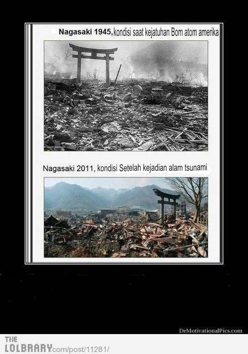 inilah perbedaan kondisi kota nagasaki yang dimana terjadi kejadian Bom atom dan tsunami di kota NAGASAKI Jepang...waw