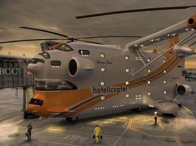 """Kalian tahu gak sob, ini adalah hotel terbang pertama di dunia, namanya Hotelicopter. """"Hotel terbang"""""""