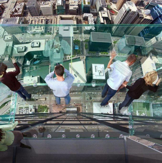 Transparent balcony on the 103rd floor of the Sears Tower in Chicago! Who wants