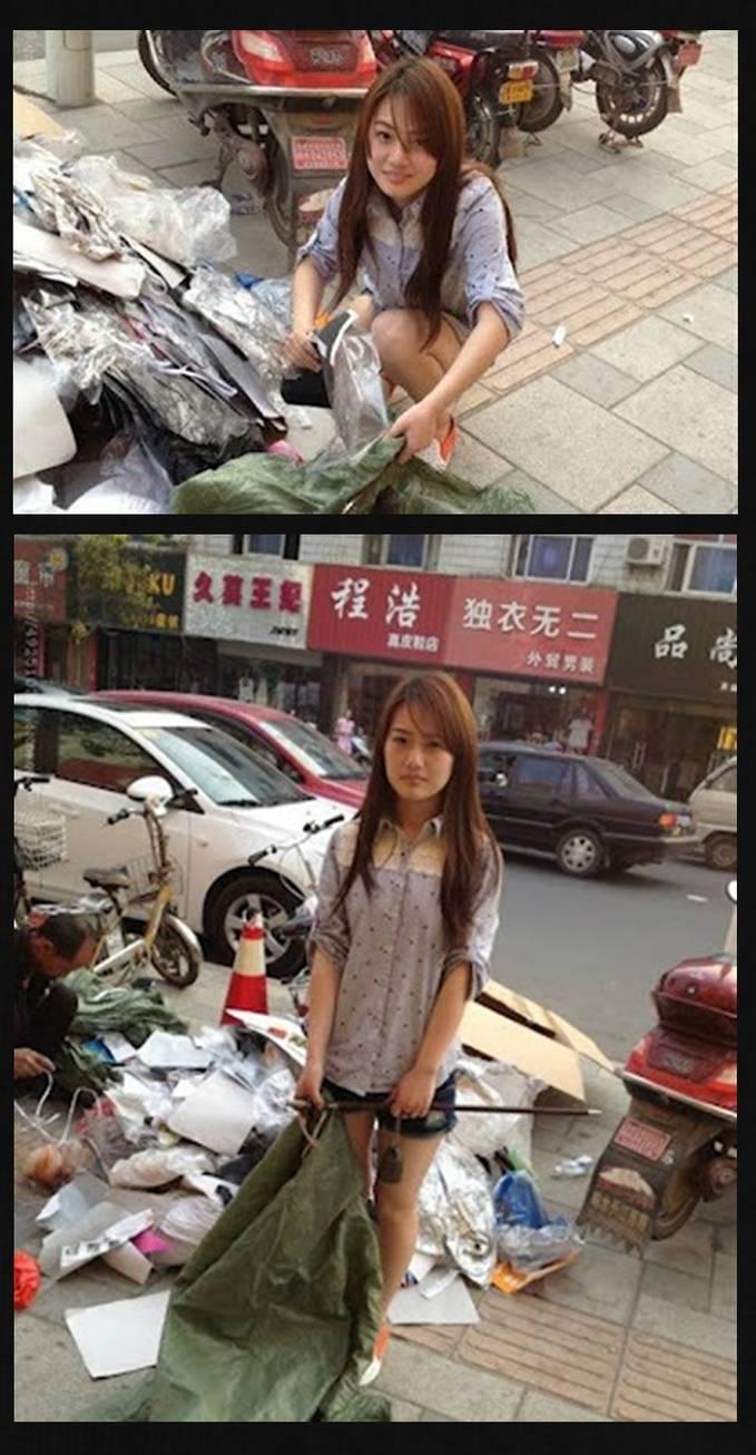 ini adalah amoy yang jadi pemulung di china. kalo di indo udah jadi artis mungkin ya gan.