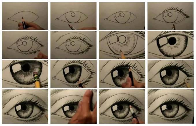 Cara menggambar mata yang realistis! ? ? Yuk belajar teman-teman...!!