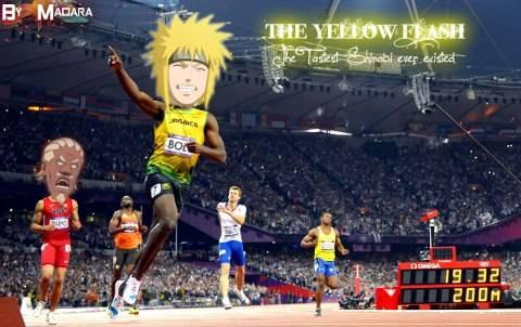 Lol... Kalo lomba lari ya sudah pasti menang Minato Namikaze. Raikage aja ngos ngosan... wow nya manaa?? ._.