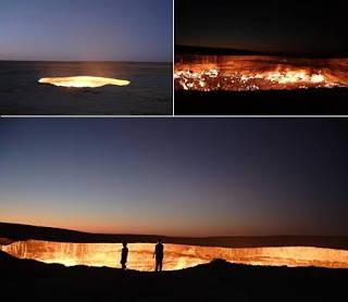 """Hell Gate (Uzbekistan) Biasa disebutkan """"the door to hell"""". terletak di dekat kota kecil, Darvaz. 35 tahun yang lalu, tim geologis sedang menggali untuk mencari sumber gas. namun yang mereka temukan adalah sebuah goa besar yang berapi. dikirak"""