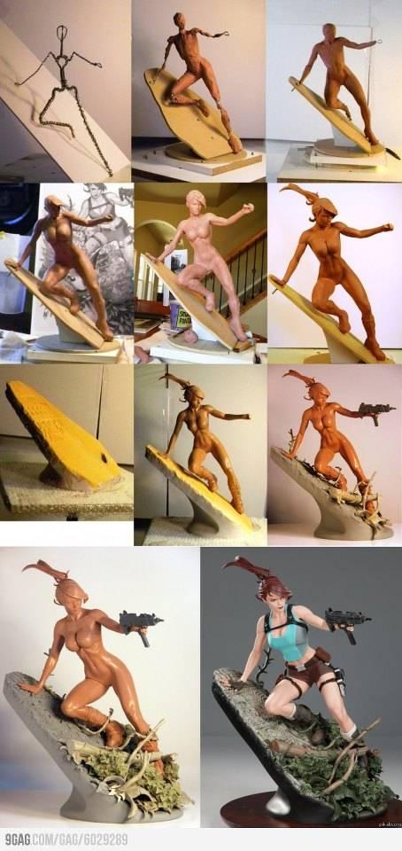 Beginilah cara membuat patung karakter Lara Croft