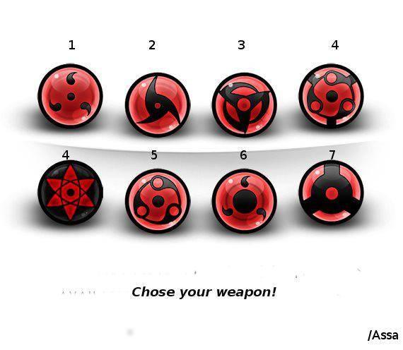 jika kalian di dalam film anime naruto shippuden dan menjadi salah satu anggota clan uchiha ,anda memilih nomer berapa untuk mangekyounya ? :D