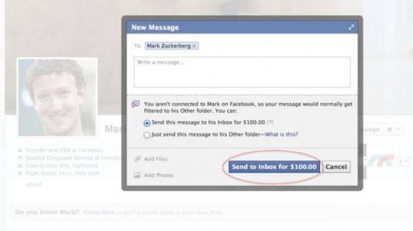 Mau Kirim Pesan Ke Fb Mark Zuckerberg? Bayar Rp 970 Ribu! Jika Anda ingin mengirim pesan ke Mark Zuckerberg via inbox FB, sila siapkan dana USD 100 atau sekitar Rp 970 ribu terlebih dahulu. Harga itu harus Anda bayar jika ingin pesan yang diki