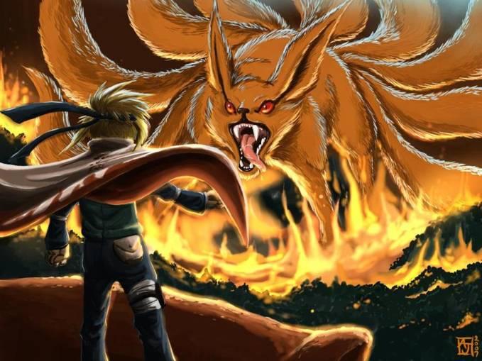 nih minato\yondaime lagi ngelindungin konoha dari serangan kyubii dan uchiha madara
