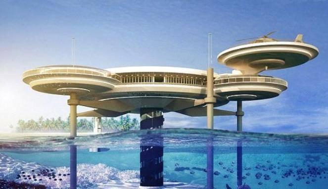 Hotel Mewah Terbesar di Bawah Laut Sebuah hotel di bawah laut tengah di bangun di Dubai, Uni Emirat Arab. Hotel Water Discus ini menjadi yang terbesar bangunan hotel di bawah kedalaman samudera. Hotel ini digagas perusahaan Polandia Deep Oc