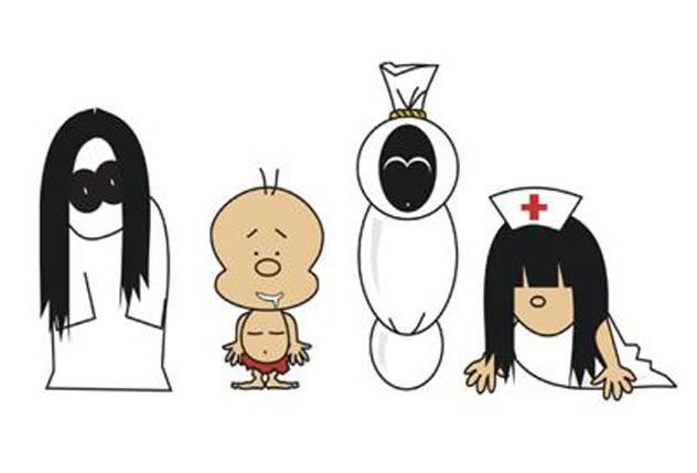 Kuntil anak, Tuyul, Pocong, Suster ngesot.... kalo dibikin kartun gak nyeremin + lucu yaa...