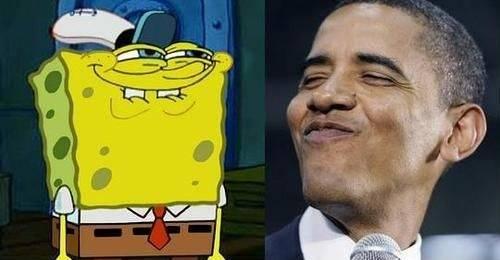 Tau Ga loe pade...ternyata Obama Fansny Sponge Bob juga.. liat tuh gayany... \:D/