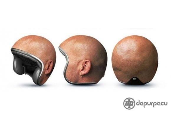 ngk ada helm,kepala botak pun jadi...hehehe