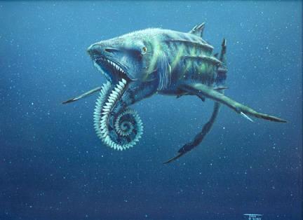 Dikenal sebagai Spiral Saw, yang Helicoprion dikatakan telah hidup selama periode Karbon dan merupakan salah satu dari beberapa makhluk mampu hidup melalui peristiwa kepunahan Permian-Trias (The Great Dying)