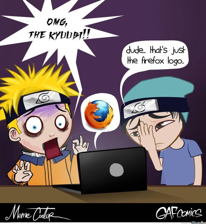LoL... Naruto kaget liat kyubi ada di Laptop, padahal itu lambang browser :D