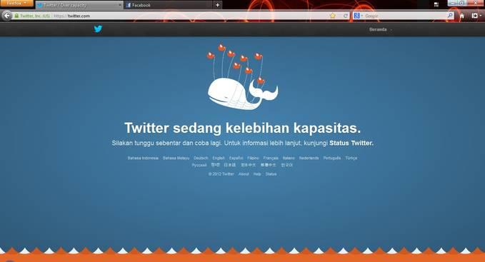 ternyata twitter bisa over juga, sama kayak kaskus, facebook apa bisa kaga ya haha jangan lupa wownya ya