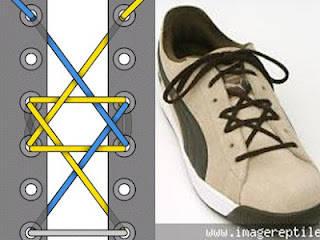 Model tali sepatu ini disebut hexagram karena berbentuk bintang segi enam. Masih jarang ditemukan orang yang mengikat tali sepatunya seperti ini.