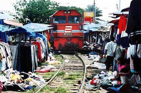Di tangerang banyak sekali orang-orang berjualan di pinggir rel kereta api layak nya pasar tradisional.Sungguh berbahaya sekali berjualan dengan cara seperti ini dikarenakan banyak kereta yang lewat dengan kecepatan tinggi. klik WOW nya ya :)