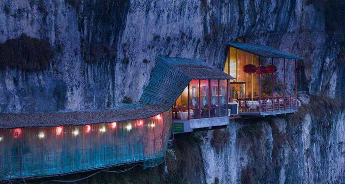 Berani ga ke restoran ini? kalo berani..WoW nya yaaa.GBU^^ Restaurant near Sanyou Cave above the Chang Jiang river, Hubei , China.. :)