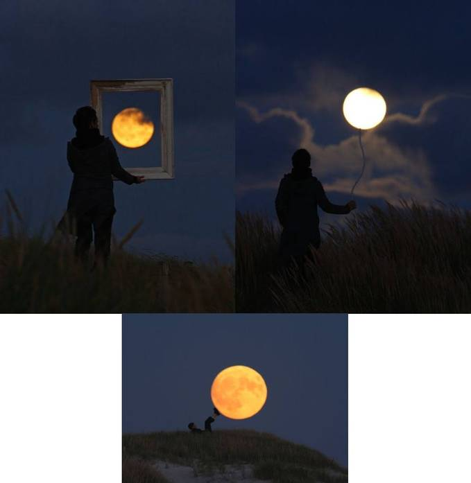 Cara Unik Seni Fotografi Dengan Bulan nice pic...