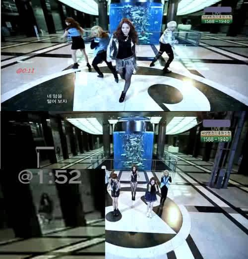penampakan di penampilan f(x). saat MBC Music Core pada tanggal 7 Mei 2011 menampilkan f(x),dengan singelnya itu pinocchio(Danger),dan tiba-tiba kamera menangkap gambar seperti sosok perempuan,tepat di menit 1:52 di bagian kiri belakangpanggung