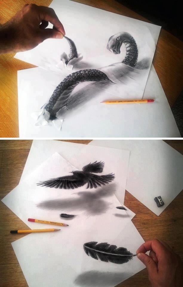 Gambar ini seolah2 3 Dimensi padahal hanyalah gambaran diatas kertas. Keren yah ?