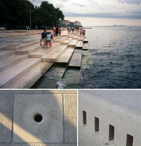 Morske Orgulje Zadar Croatia, organ pertama yang odi dunia yang dimainkan oleh ombak laut yang dikerjakan oleh pemahat Dalmatian dan sang Arsitek Nikola Basic pada tahun 2005.